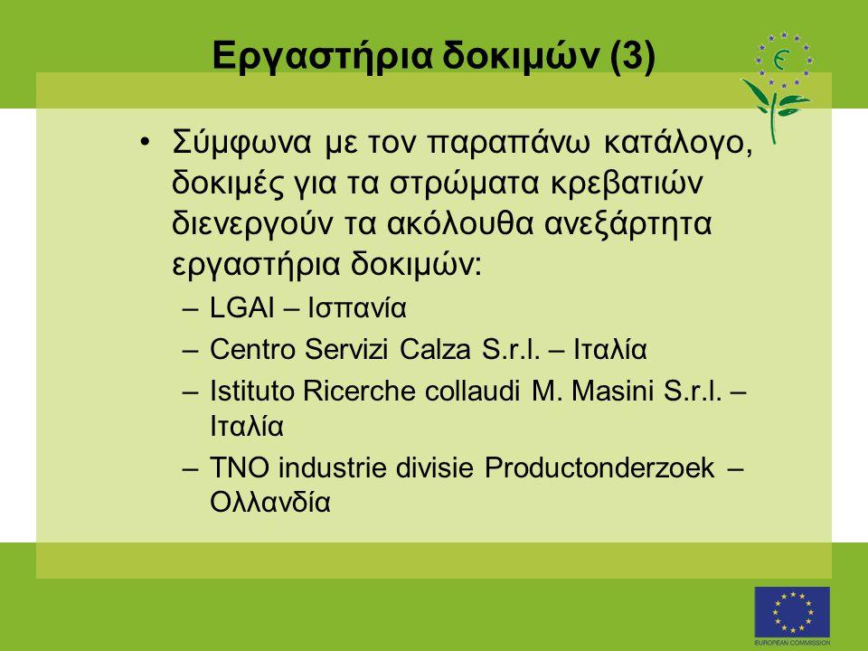 Εργαστήρια δοκιμών (3) •Σύμφωνα με τον παραπάνω κατάλογο, δοκιμές για τα στρώματα κρεβατιών διενεργούν τα ακόλουθα ανεξάρτητα εργαστήρια δοκιμών: –LGA
