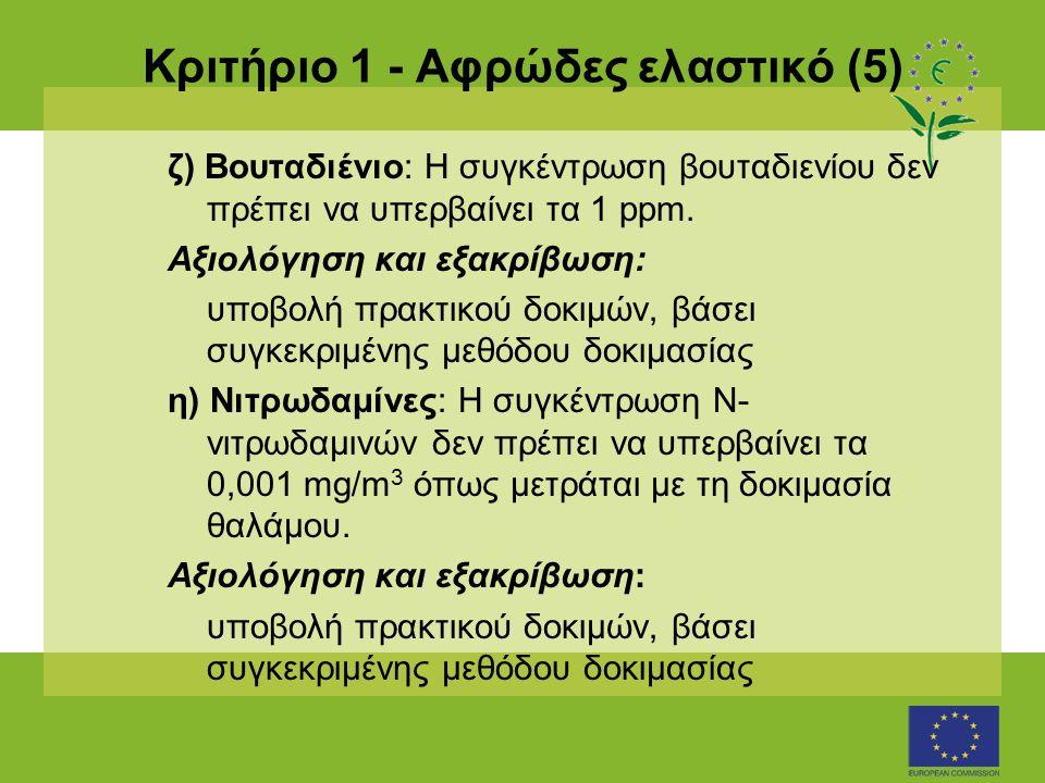 Κριτήριο 1 - Αφρώδες ελαστικό (5) ζ) Βουταδιένιο: Η συγκέντρωση βουταδιενίου δεν πρέπει να υπερβαίνει τα 1 ppm. Αξιολόγηση και εξακρίβωση: υποβολή πρα
