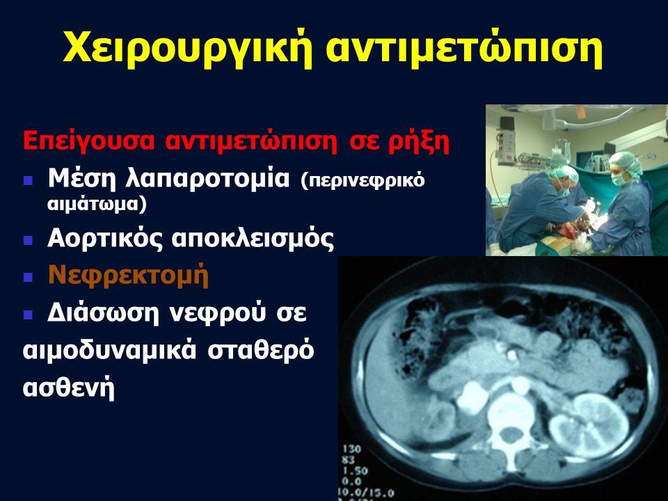 Χειρουργική αντιμετώπιση Επείγουσα αντιμετώπιση σε ρήξη  Μέση λαπαροτομία (περινεφρικό αιμάτωμα)  Αορτικός αποκλεισμός  Νεφρεκτομή  Διάσωση νεφρού