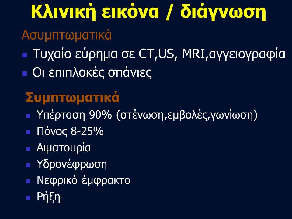 Κλινική εικόνα / διάγνωση Συμπτωματικά  Υπέρταση 90% (στένωση,εμβολές,γωνίωση)  Πόνος 8-25%  Αιματουρία  Υδρονέφρωση  Νεφρικό έμφρακτο  Ρήξη Ασυ