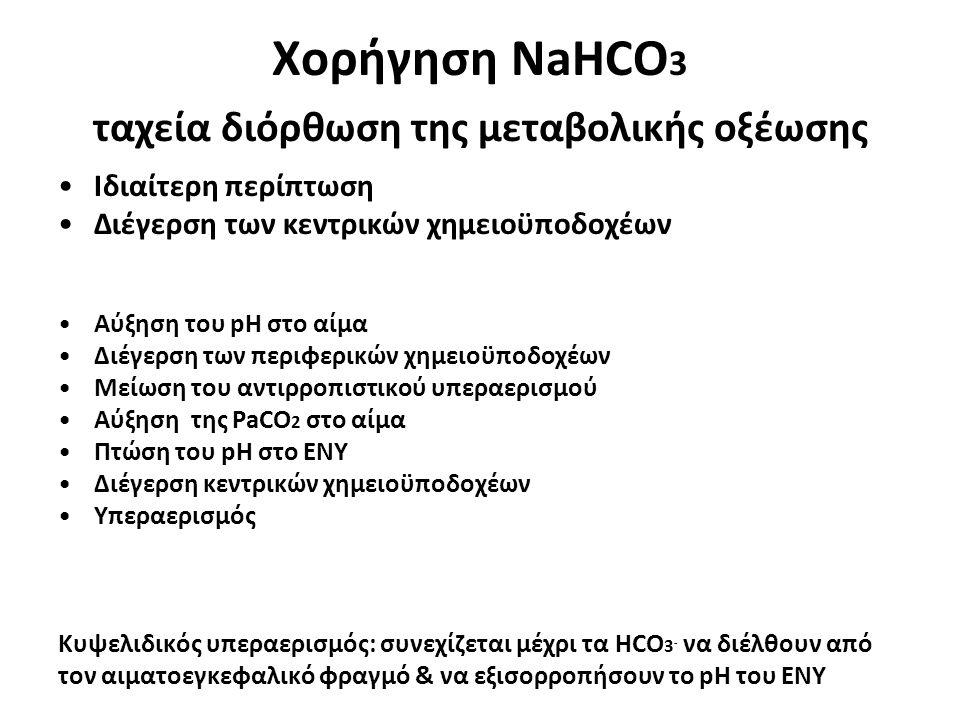 Χορήγηση NaHCO 3 ταχεία διόρθωση της μεταβολικής οξέωσης •Ιδιαίτερη περίπτωση •Διέγερση των κεντρικών χημειοϋποδοχέων •Αύξηση του pH στο αίμα •Διέγερσ