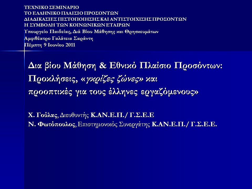 όψεις της ελληνικής πραγματικότητας (1) σε μια χώρα όπως η Ελλάδα όπου δεν υπάρχει παράδοση σε θέματα δια βίου μάθησης και πιστοποίησης εξακολουθούν νε ενδημούν τα εξής χαρακτηριστικά : σε μια χώρα όπως η Ελλάδα όπου δεν υπάρχει παράδοση σε θέματα δια βίου μάθησης και πιστοποίησης εξακολουθούν νε ενδημούν τα εξής χαρακτηριστικά :  η χαμηλή συμμετοχή των ενηλίκων στη δια βίου μάθηση  η αδυναμία να συνδεθούν οι επιμέρους πολιτικές εκπαίδευσης κατάρτισης σε ένα κοινό πλαίσιο (αλληλοεπικαλύψεις, αποσπασματικότητα, θεσμική αναποτελεσματικότητα)