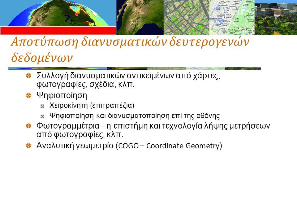 Αποτύπωση διανυσματικών δευτερογενών δεδομένων Συλλογή διανυσματικών αντικειμένων από χάρτες, φωτογραφίες, σχέδια, κλπ. Ψηφιοποίηση Χειροκίνητη ( επιτ