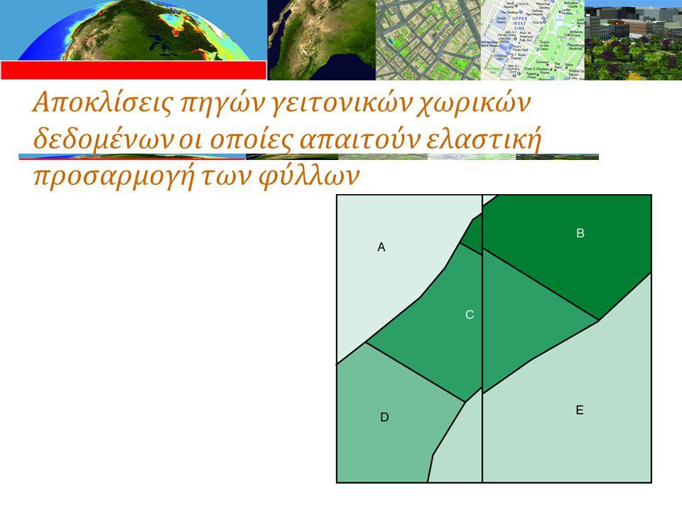 Αποκλίσεις πηγών γειτονικών χωρικών δεδομένων οι οποίες απαιτούν ελαστική προσαρμογή των φύλλων