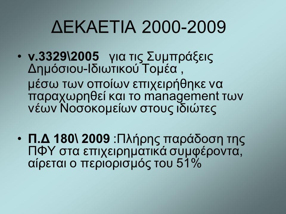 ΔΕΚΑΕΤΙΑ 2000-2009 •ν.3329\2005 για τις Συμπράξεις Δημόσιου-Ιδιωτικού Τομέα, μέσω των οποίων επιχειρήθηκε να παραχωρηθεί και το management των νέων Νο