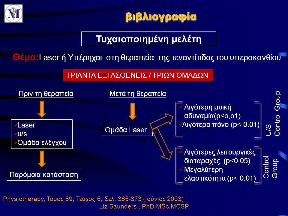 βιβλιογραφίαβιβλιογραφία Τυχαιοποιημένη μελέτη Physiotherapy, Τόμος 89, Τεύχος 6, Σελ. 365-373 (Ιούνιος 2003) Liz Saunders, PhD,MSc,MCSP Πριν τη θεραπ