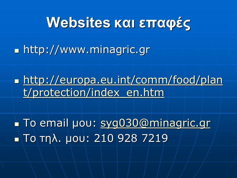 Websites και επαφές  http://www.minagric.gr  http://europa.eu.int/comm/food/plan t/protection/index_en.htm http://europa.eu.int/comm/food/plan t/pro