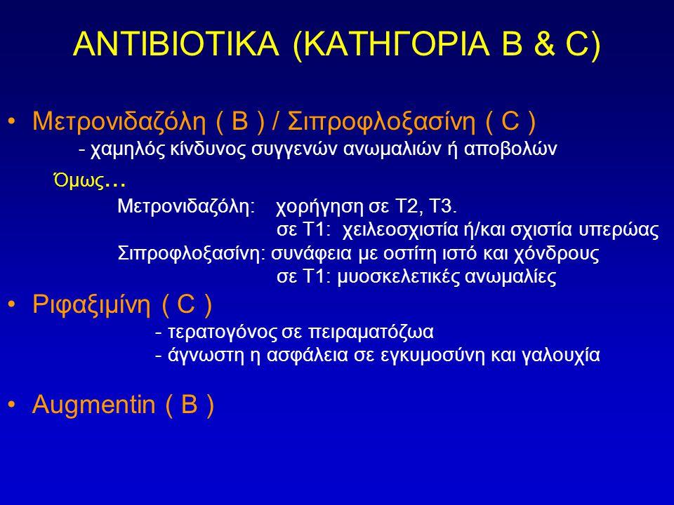 ΑΝΤΙΒΙΟΤΙΚΑ (ΚΑΤΗΓΟΡΙΑ Β & C) •Μετρονιδαζόλη ( Β ) / Σιπροφλοξασίνη ( C ) - χαμηλός κίνδυνος συγγενών ανωμαλιών ή αποβολών Όμως... Μετρονιδαζόλη: χορή