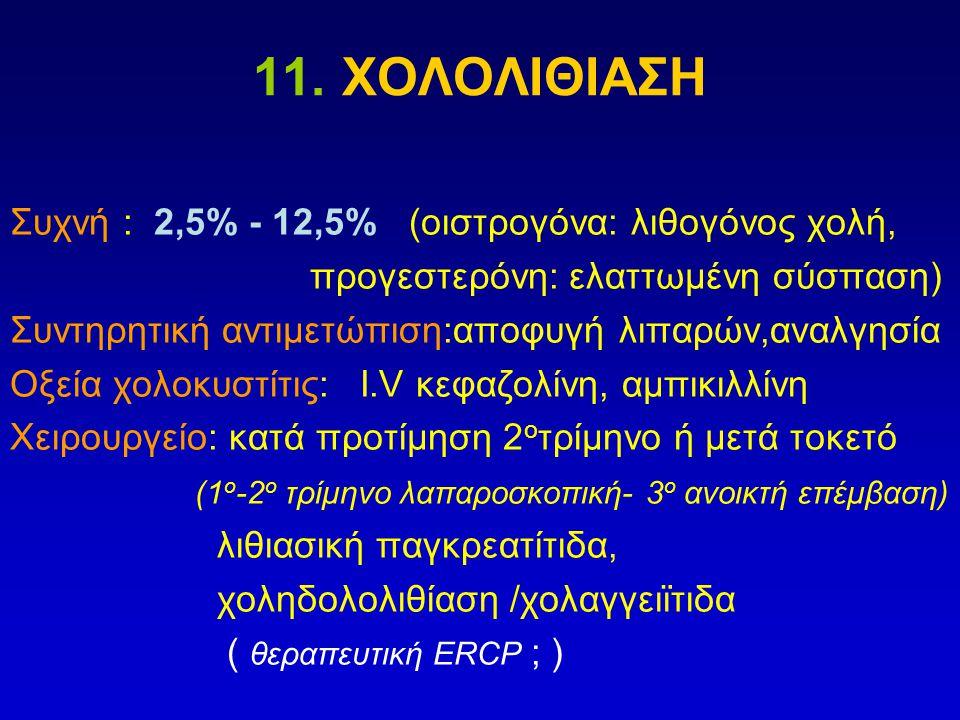 11. ΧΟΛΟΛΙΘΙΑΣΗ Συχνή : 2,5% - 12,5% (οιστρογόνα: λιθογόνος χολή, προγεστερόνη: ελαττωμένη σύσπαση) Συντηρητική αντιμετώπιση:αποφυγή λιπαρών,αναλγησία