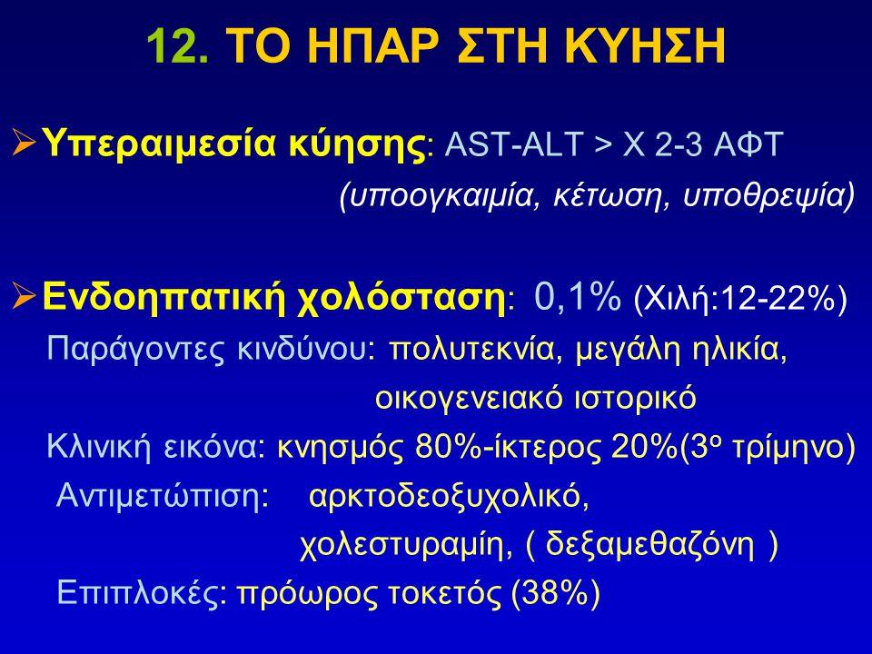 12. ΤΟ ΗΠΑΡ ΣΤΗ ΚΥΗΣΗ  Υπεραιμεσία κύησης : ΑST-ALT > Χ 2-3 ΑΦΤ (υποογκαιμία, κέτωση, υποθρεψία)  Ενδοηπατική χολόσταση : 0,1% (Χιλή:12-22%) Παράγον