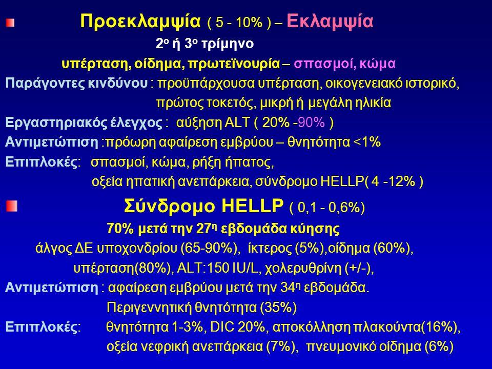 Προεκλαμψία ( 5 - 10% ) – Εκλαμψία 2 ο ή 3 ο τρίμηνο υπέρταση, οίδημα, πρωτεϊνουρία – σπασμοί, κώμα Παράγοντες κινδύνου : προϋπάρχουσα υπέρταση, οικογ