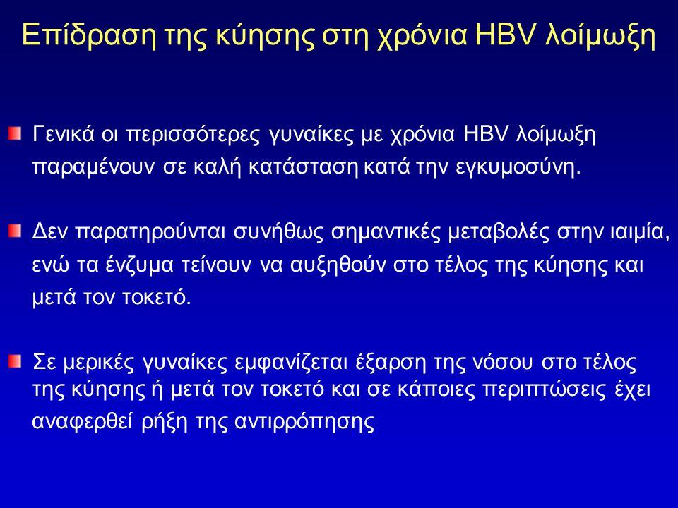 Επίδραση της κύησης στη χρόνια HBV λοίμωξη Γενικά οι περισσότερες γυναίκες με χρόνια HBV λοίμωξη παραμένουν σε καλή κατάσταση κατά την εγκυμοσύνη.
