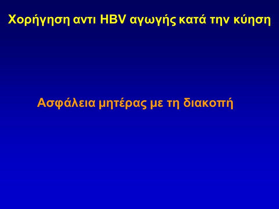 Χορήγηση αντι HBV αγωγής κατά την κύηση Ασφάλεια μητέρας με τη διακοπή