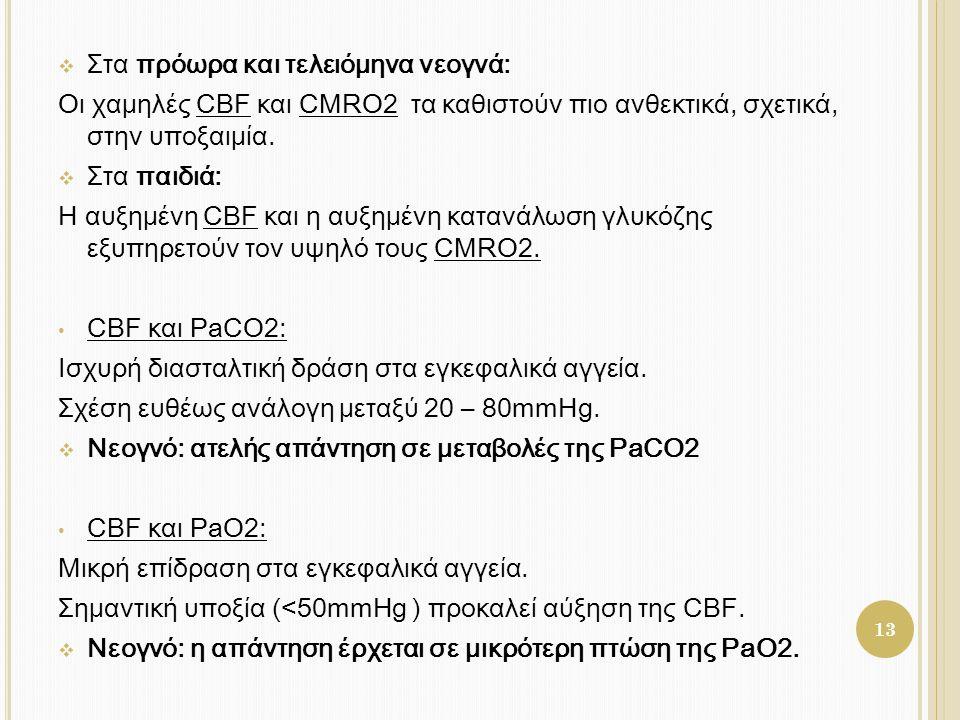  Στα πρόωρα και τελειόμηνα νεογνά: Οι χαμηλές CBF και CMRO2 τα καθιστούν πιο ανθεκτικά, σχετικά, στην υποξαιμία.  Στα παιδιά: Η αυξημένη CBF και η α