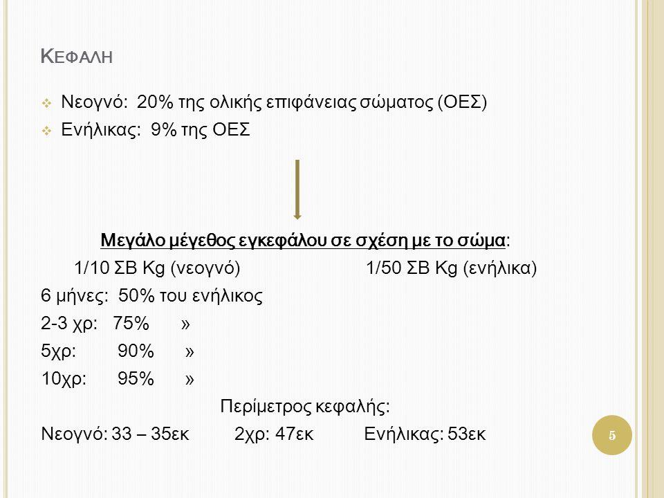 Κ ΕΦΑΛΗ  Νεογνό: 20% της ολικής επιφάνειας σώματος (ΟΕΣ)  Ενήλικας: 9% της ΟΕΣ Μεγάλο μέγεθος εγκεφάλου σε σχέση με το σώμα: 1/10 ΣΒ Kg (νεογνό) 1/5