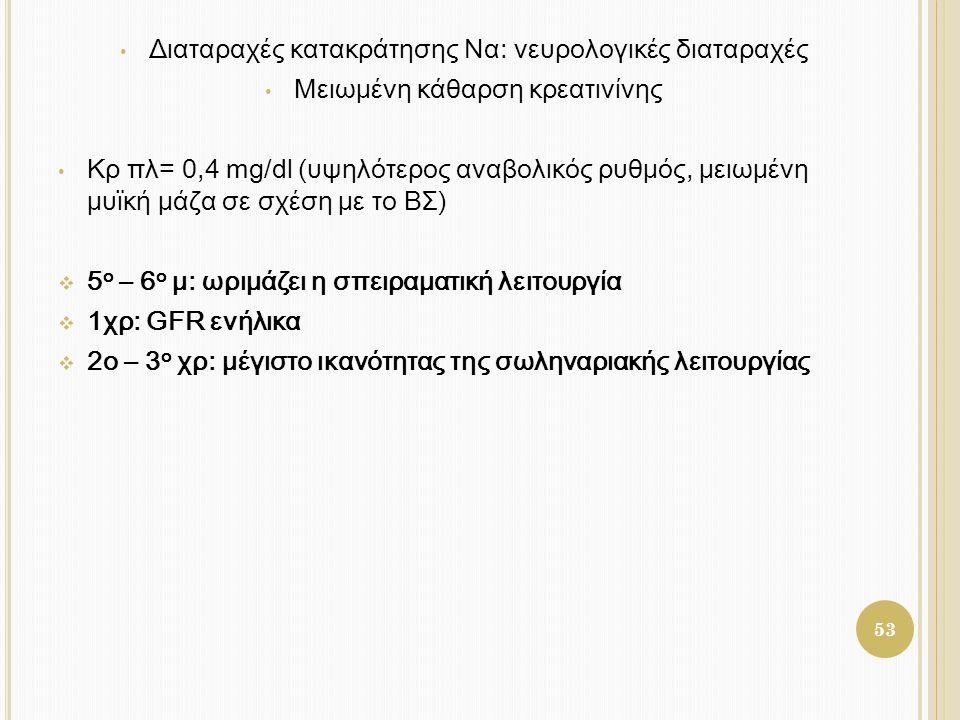 • Διαταραχές κατακράτησης Να: νευρολογικές διαταραχές • Μειωμένη κάθαρση κρεατινίνης • Κρ πλ= 0,4 mg/dl (υψηλότερος αναβολικός ρυθμός, μειωμένη μυϊκή