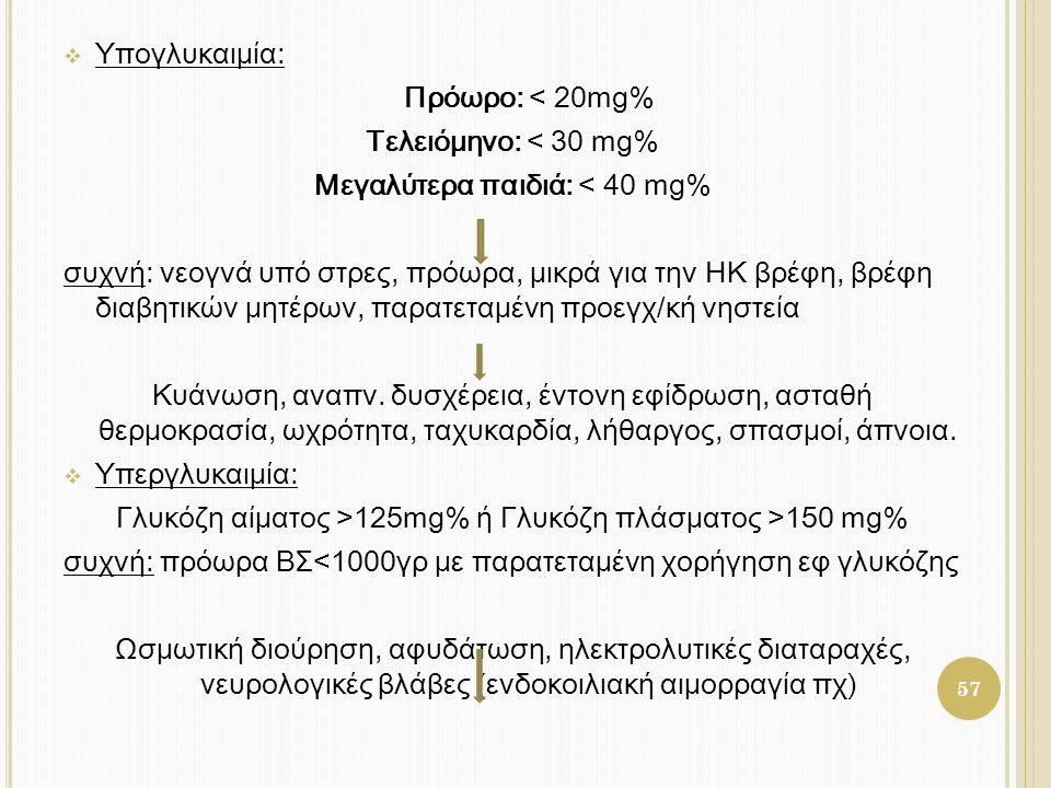  Υπογλυκαιμία: Πρόωρο: < 20mg% Τελειόμηνο: < 30 mg% Μεγαλύτερα παιδιά: < 40 mg% συχνή: νεογνά υπό στρες, πρόωρα, μικρά για την ΗΚ βρέφη, βρέφη διαβητ