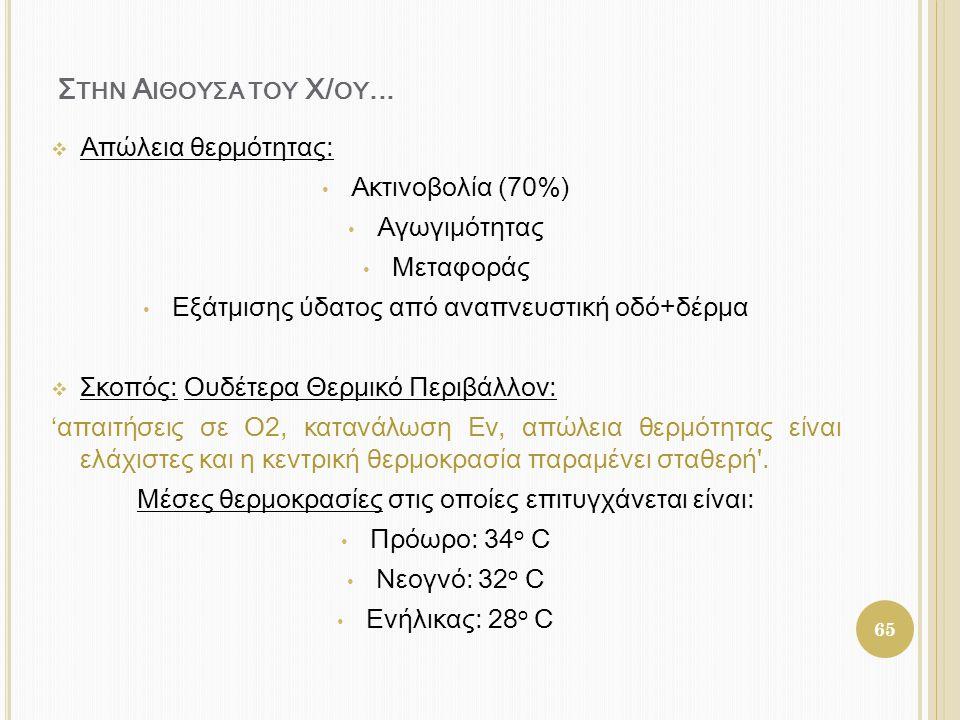 Σ ΤΗΝ Α ΙΘΟΥΣΑ ΤΟΥ Χ/ ΟY...  Απώλεια θερμότητας: • Ακτινοβολία (70%) • Αγωγιμότητας • Μεταφοράς • Εξάτμισης ύδατος από αναπνευστική οδό+δέρμα  Σκοπό