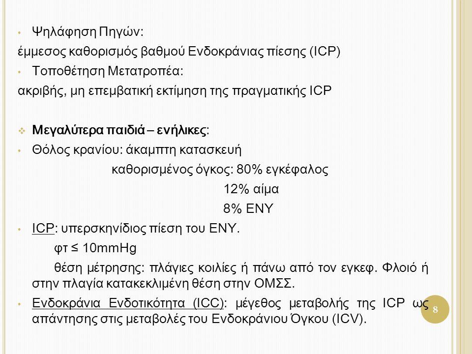 8 • Ψηλάφηση Πηγών: έμμεσος καθορισμός βαθμού Ενδοκράνιας πίεσης (ICP) • Τοποθέτηση Μετατροπέα: ακριβής, μη επεμβατική εκτίμηση της πραγματικής ICP 