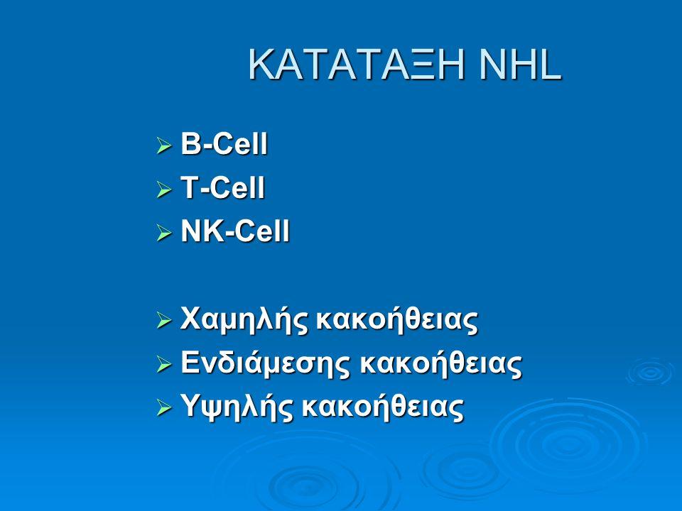 ΚΑΤΑΤΑΞΗ NHL ΚΑΤΑΤΑΞΗ NHL  B-Cell  T-Cell  NK-Cell  Χαμηλής κακοήθειας  Ενδιάμεσης κακοήθειας  Υψηλής κακοήθειας