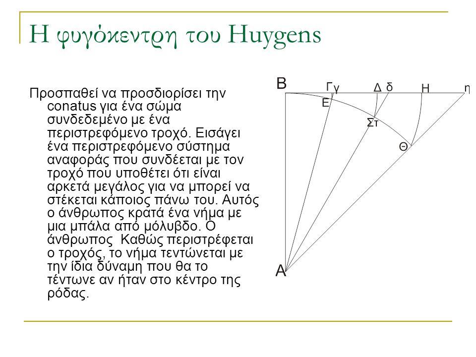 Huygens (1629-1697)  Horologium oscillatorium (1673)  Δίνει ορισμό της Φυγόκεντρης δύναμης ως ανάλογης προς το τετράγωνο της ταχύτητας ή προς την ακτίνα.