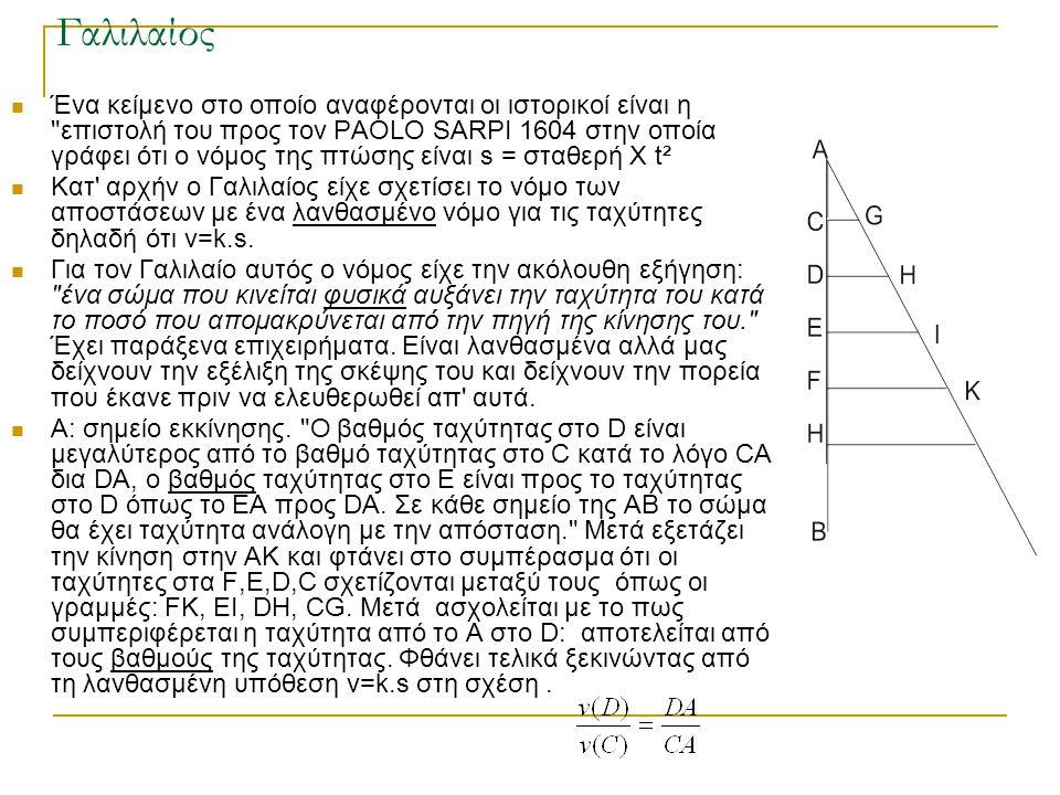 Γαλιλαίος  Ένα κείμενο στο οποίο αναφέρονται οι ιστορικοί είναι η επιστολή του προς τον PAOLO SARPI 1604 στην οποία γράφει ότι ο νόμος της πτώσης είναι s = σταθερή Χ t²  Κατ αρχήν ο Γαλιλαίος είχε σχετίσει το νόμο των αποστάσεων με ένα λανθασμένο νόμο για τις ταχύτητες δηλαδή ότι v=k.s.