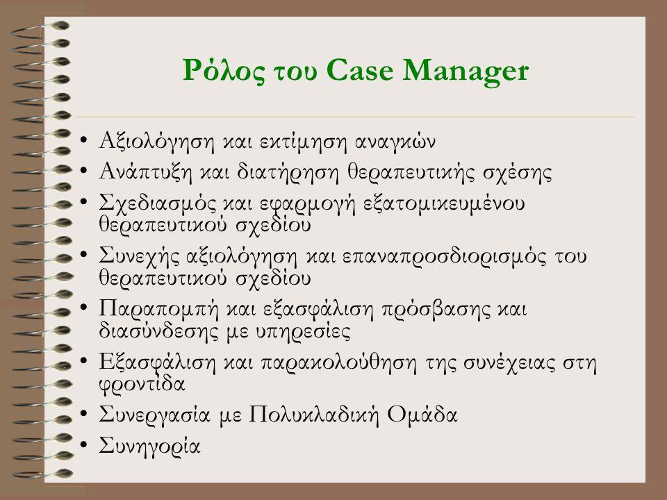 Ρόλος του Case Manager •Αξιολόγηση και εκτίμηση αναγκών •Ανάπτυξη και διατήρηση θεραπευτικής σχέσης •Σχεδιασμός και εφαρμογή εξατομικευμένου θεραπευτικού σχεδίου •Συνεχής αξιολόγηση και επαναπροσδιορισμός του θεραπευτικού σχεδίου •Παραπομπή και εξασφάλιση πρόσβασης και διασύνδεσης με υπηρεσίες •Εξασφάλιση και παρακολούθηση της συνέχειας στη φροντίδα •Συνεργασία με Πολυκλαδική Ομάδα •Συνηγορία