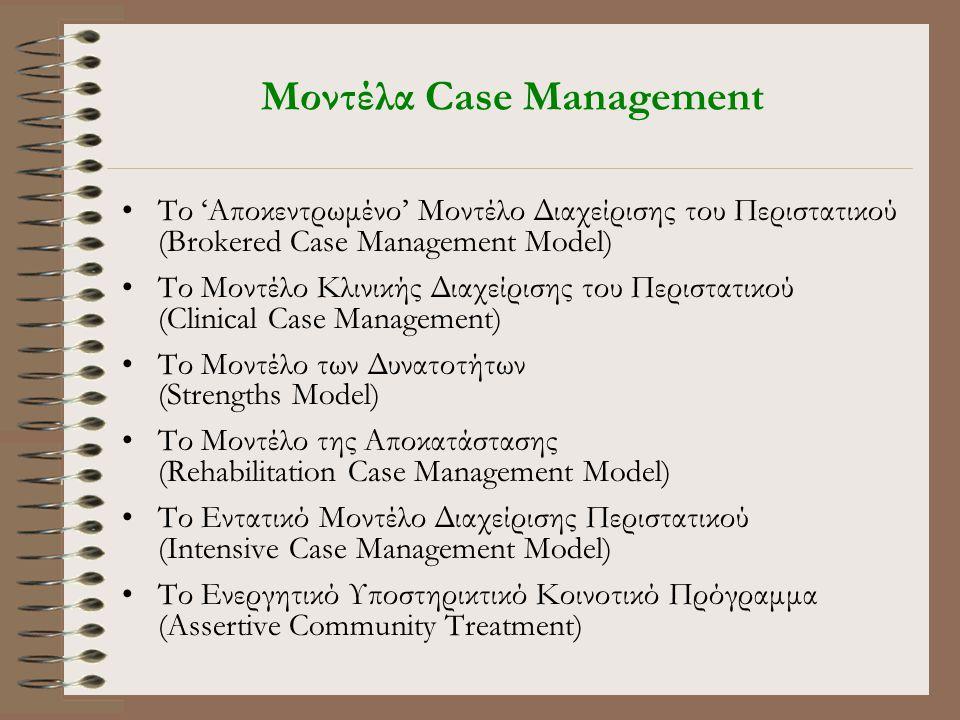 Μοντέλα Case Management •Το 'Αποκεντρωμένο' Μοντέλο Διαχείρισης του Περιστατικού (Brokered Case Management Model) •Το Μοντέλο Κλινικής Διαχείρισης του Περιστατικού (Clinical Case Management) •Tο Μοντέλο των Δυνατοτήτων (Strengths Model) •Tο Μοντέλο της Αποκατάστασης (Rehabilitation Case Management Model) •Το Εντατικό Μοντέλο Διαχείρισης Περιστατικού (Intensive Case Management Model) •Tο Ενεργητικό Υποστηρικτικό Κοινοτικό Πρόγραμμα (Assertive Community Treatment)
