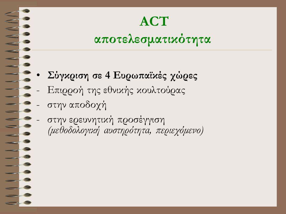 ACT αποτελεσματικότητα •Σύγκριση σε 4 Ευρωπαϊκές χώρες -Επιρροή της εθνικής κουλτούρας -στην αποδοχή -στην ερευνητική προσέγγιση (μεθοδολογική αυστηρότητα, περιεχόμενο)