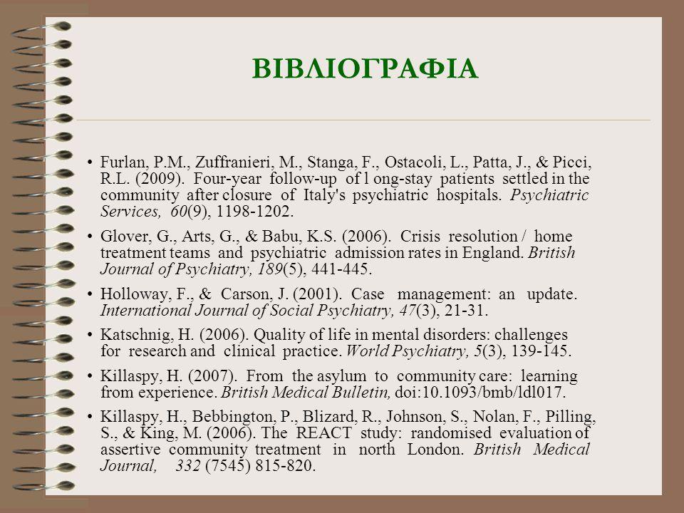 ΒΙΒΛΙΟΓΡΑΦΙΑ •Furlan, P.M., Zuffranieri, M., Stanga, F., Ostacoli, L., Patta, J., & Picci, R.L. (2009). Four-year follow-up of l ong-stay patients set