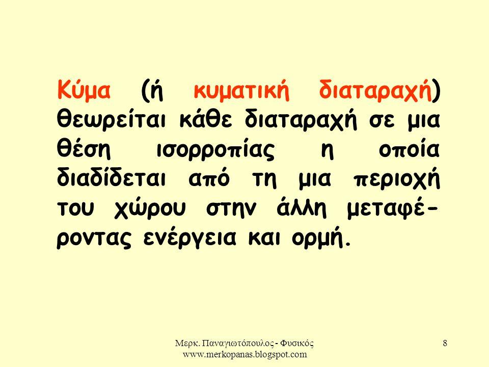 8 Κύμα (ή κυματική διαταραχή) θεωρείται κάθε διαταραχή σε μια θέση ισορροπίας η οποία διαδίδεται από τη μια περιοχή του χώρου στην άλλη μεταφέ- ροντας ενέργεια και ορμή.