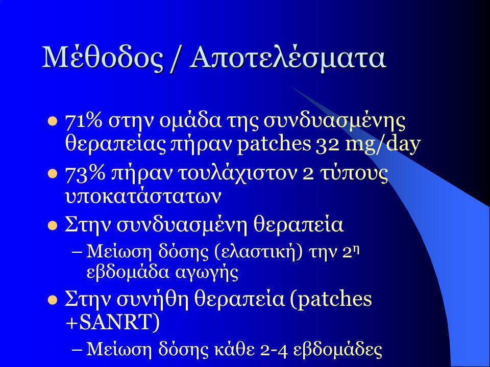 Μέθοδος / Αποτελέσματα  71% στην ομάδα της συνδυασμένης θεραπείας πήραν patches 32 mg/day  73% πήραν τουλάχιστον 2 τύπους υποκατάστατων  Στην συνδυ