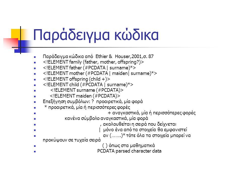 Παράδειγμα κώδικα  Παράδειγμα κώδικα από Ethier & Houser,2001,σ.