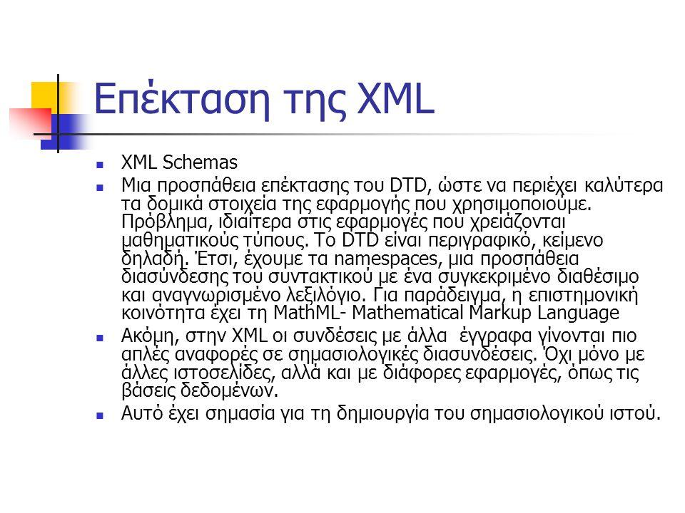 Επέκταση της XML  XML Schemas  Μια προσπάθεια επέκτασης του DTD, ώστε να περιέχει καλύτερα τα δομικά στοιχεία της εφαρμογής που χρησιμοποιούμε.