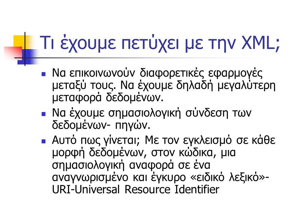 Τι έχουμε πετύχει με την XML;  Να επικοινωνούν διαφορετικές εφαρμογές μεταξύ τους.