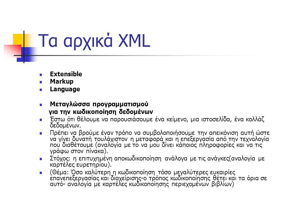 Τα αρχικά XML  Extensible  Markup  Language  Μεταγλώσσα προγραμματισμού για την κωδικοποίηση δεδομένων  Έστω ότι θέλουμε να παρουσιάσουμε ένα κείμενο, μια ιστοσελίδα, ένα κολλάζ δεδομένων.