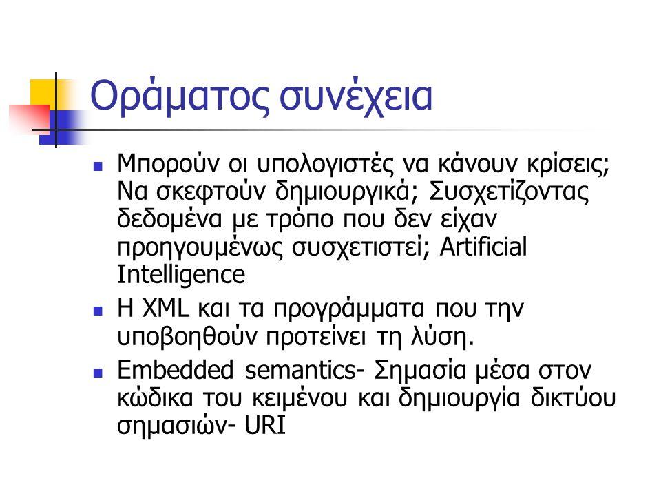 Οράματος συνέχεια  Μπορούν οι υπολογιστές να κάνουν κρίσεις; Να σκεφτούν δημιουργικά; Συσχετίζοντας δεδομένα με τρόπο που δεν είχαν προηγουμένως συσχετιστεί; Artificial Intelligence  H XML και τα προγράμματα που την υποβοηθούν προτείνει τη λύση.