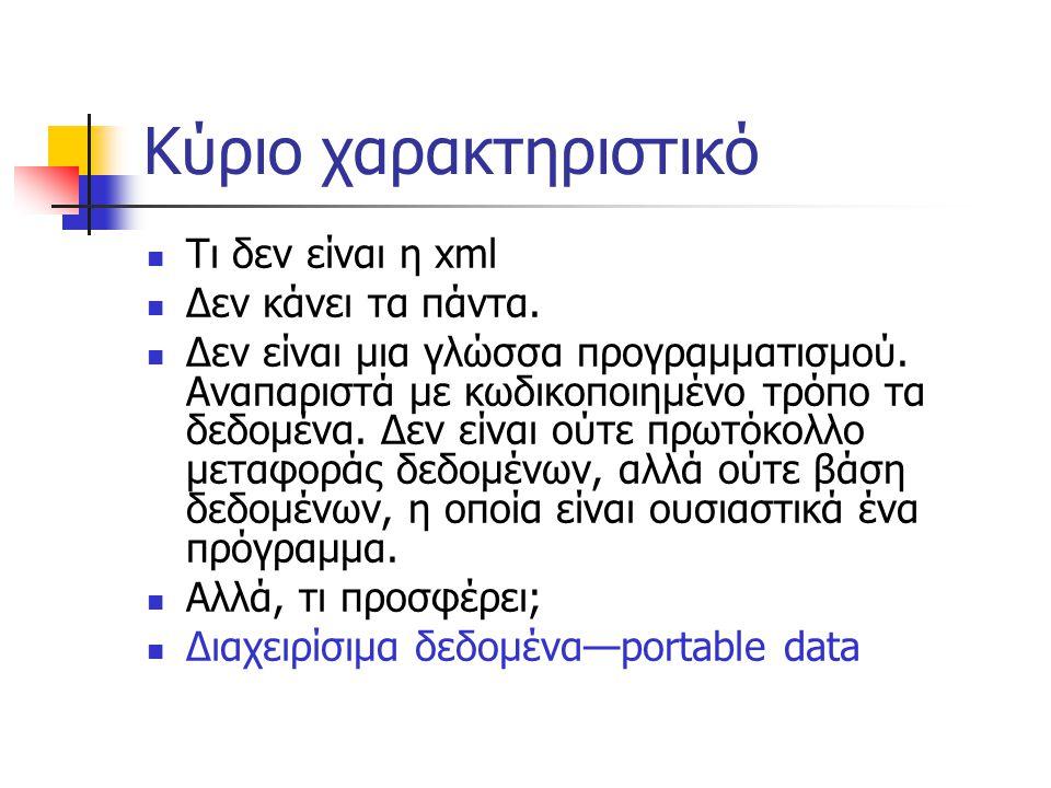 Διαχείριση δεδομένων…;  Ένας web browser  Ένας επεξεργαστής-διορθωτής κειμένου,  Μία βάση δεδομένων που αποθηκεύει αρχεία δεδομένων (Microsoft SQL Server stores xml data in a new record)  Ένα σχεδιαστικό πρόγραμμα,  ένα πρόγραμμα που «βλέπει» τον κώδικα σαν μια μορφή οικονομικού κειμένου,  Ένα πρόγραμμα διαμοίρασης πληροφοριών που παίρνει τις νέες πληροφορίες (a syndication program that reads the xml document and extracts the headlines for today's news),  Ένα πρόγραμμα που έχουμε γράψει μόνοι μας (σε Java, C, Python) και κάνει ότι του πούμε εμείς στα δεδομένα,  Οτιδήποτε άλλο.