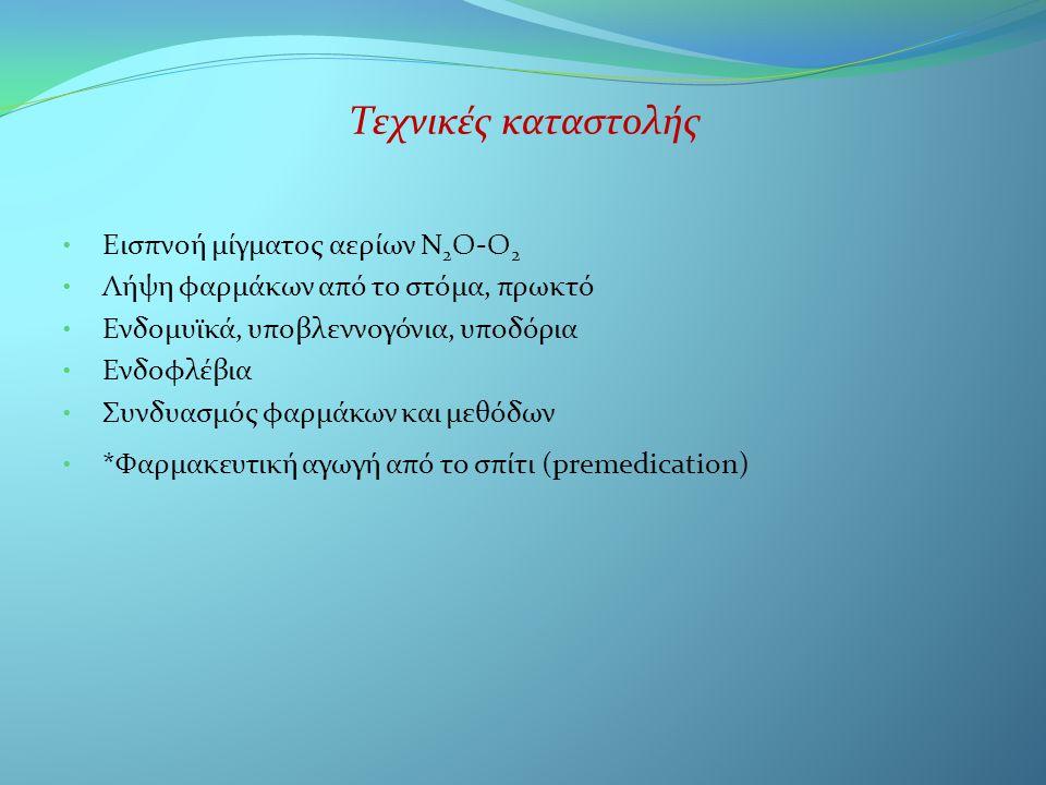 Τεχνικές καταστολής • Εισπνοή μίγματος αερίων Ν 2 Ο-Ο 2 • Λήψη φαρμάκων από το στόμα, πρωκτό • Ενδομυϊκά, υποβλεννογόνια, υποδόρια • Ενδοφλέβια • Συνδυασμός φαρμάκων και μεθόδων • *Φαρμακευτική αγωγή από το σπίτι (premedication)