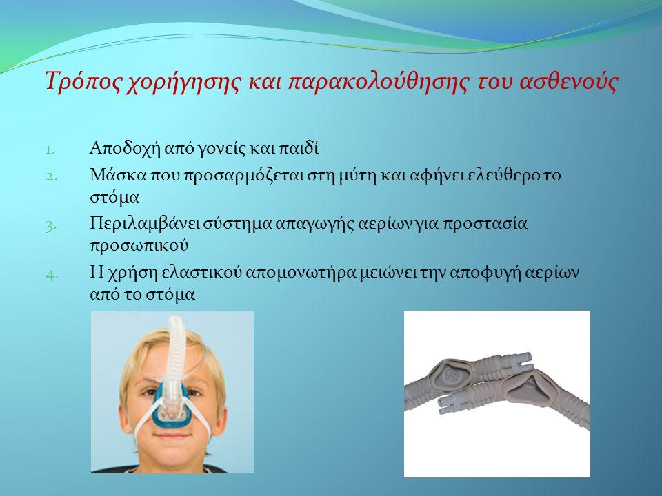 Τρόπος χορήγησης και παρακολούθησης του ασθενούς 1. Αποδοχή από γονείς και παιδί 2. Μάσκα που προσαρμόζεται στη μύτη και αφήνει ελεύθερο το στόμα 3. Π