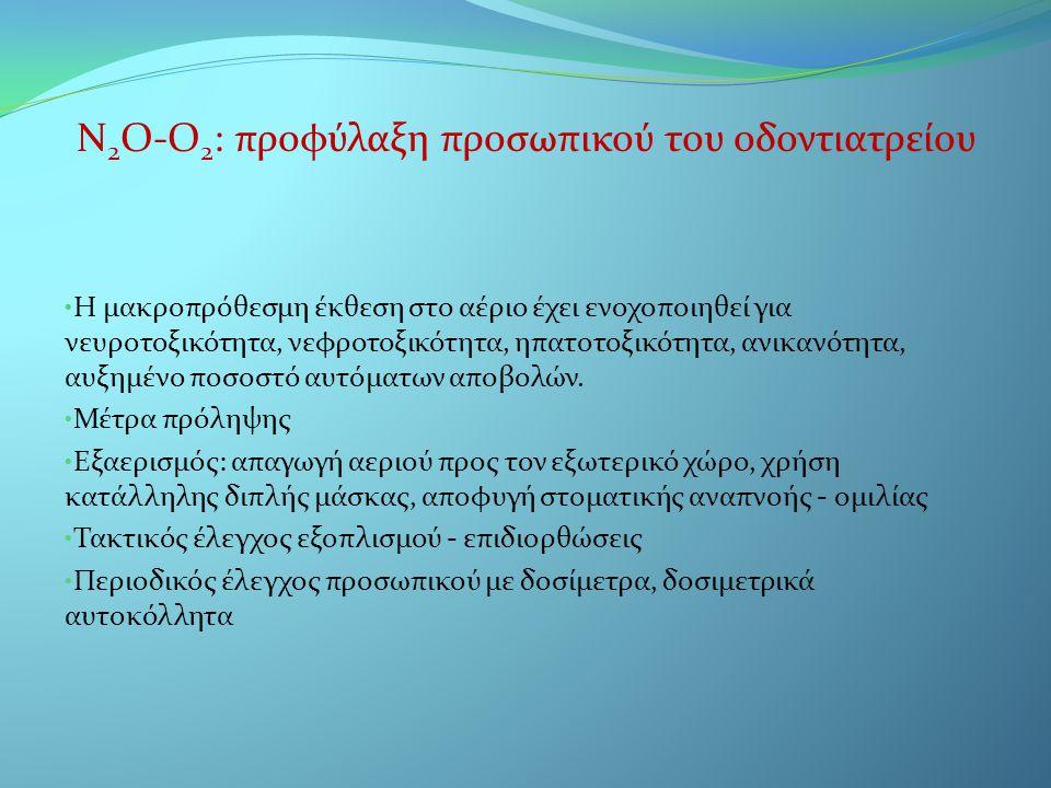 Ν 2 Ο-Ο 2 : προφύλαξη προσωπικού του οδοντιατρείου • Η μακροπρόθεσμη έκθεση στο αέριο έχει ενοχοποιηθεί για νευροτοξικότητα, νεφροτοξικότητα, ηπατοτοξ