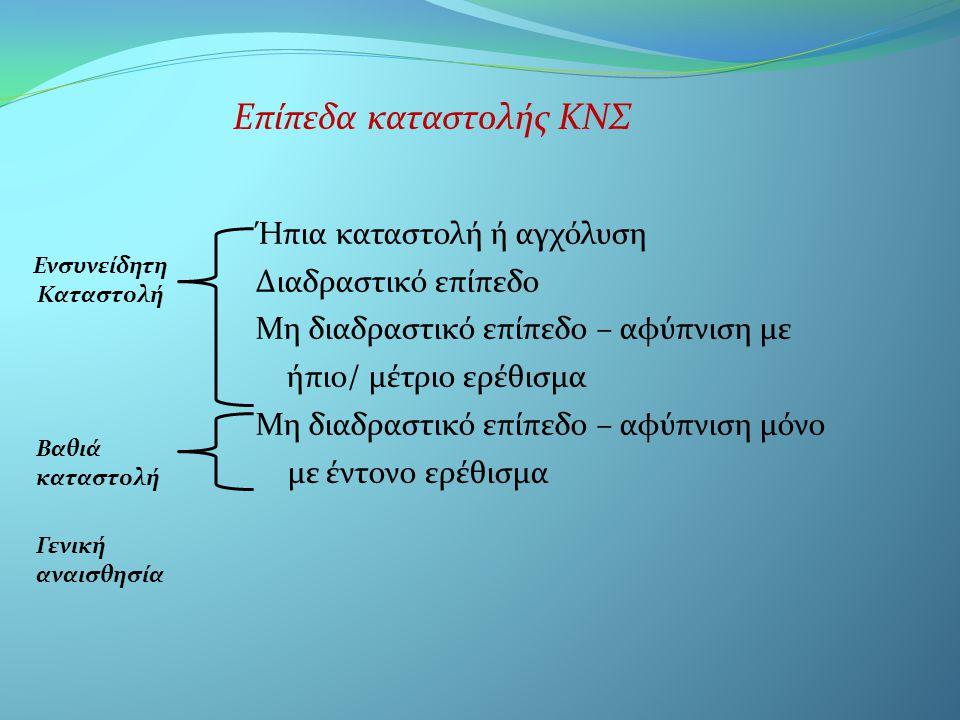 • Ενδομυϊκή: έξω πλατύς μηριαίος, μεγάλος γλουτιαίος, δελτοειδής, ανάλογα πάντα με τη μυϊκή μάζα αντίστοιχα • βενζοδιαζεπίνες • Υποβλεννογόνια: μόνο στην οδοντιατρική, στον παρειακό βλεννογόνο, 1 ος γομφίος ή κυνόδοντας • Οπιοειδή(φαιντανύλη, μεπεριδίνη) • *τοπικό αναισθητικό στην περιοχή χωρίς αγγειοσυσπαστικό