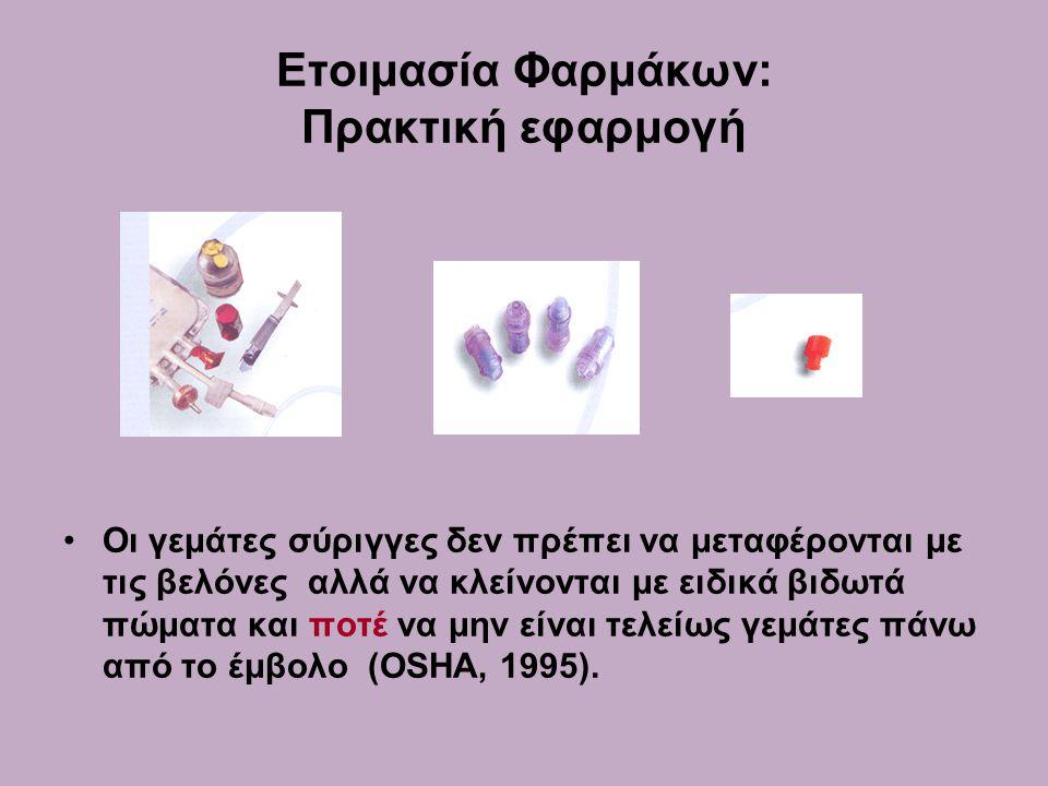 Ετοιμασία Φαρμάκων: Πρακτική εφαρμογή •Οι γεμάτες σύριγγες δεν πρέπει να μεταφέρονται με τις βελόνες αλλά να κλείνονται με ειδικά βιδωτά πώματα και ποτέ να μην είναι τελείως γεμάτες πάνω από το έμβολο (OSHA, 1995).