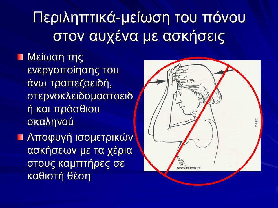Περιληπτικά-μείωση του πόνου στον αυχένα με ασκήσεις Μείωση της ενεργοποίησης του άνω τραπεζοειδή, στερνοκλειδομαστοειδ ή και πρόσθιου σκαληνού Αποφυγ
