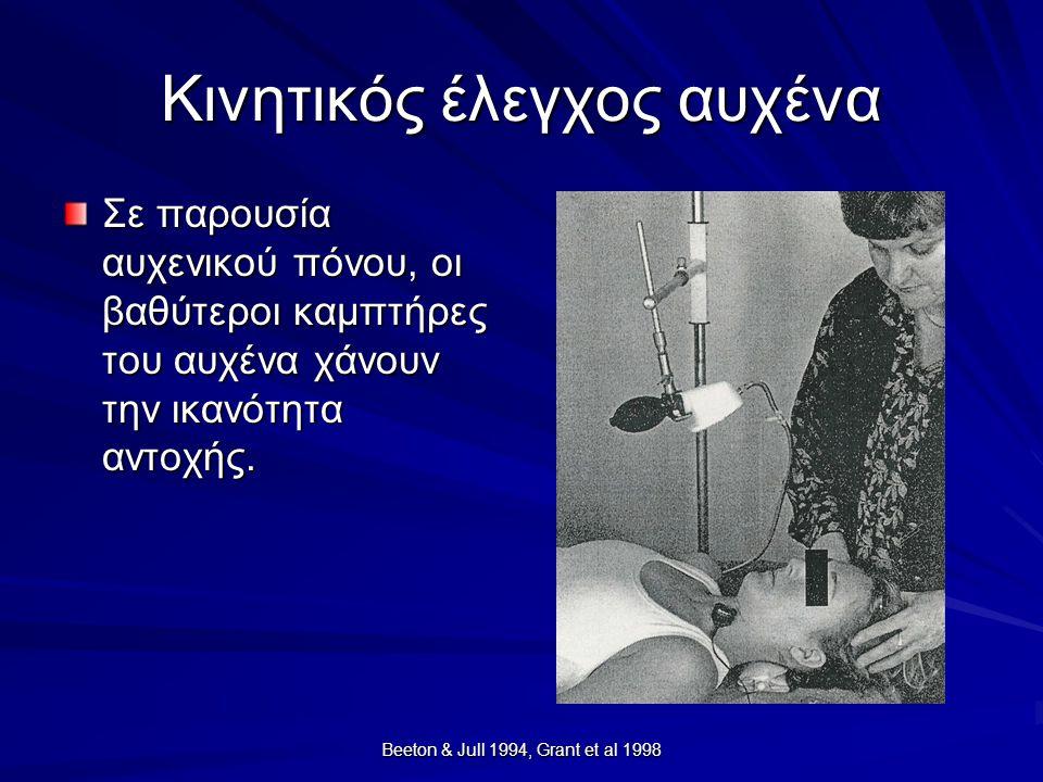 Beeton & Jull 1994, Grant et al 1998 Κινητικός έλεγχος αυχένα Σε παρουσία αυχενικού πόνου, οι βαθύτεροι καμπτήρες του αυχένα χάνουν την ικανότητα αντο