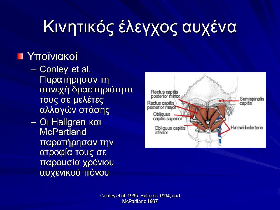 Conley et al. 1995, Hallgren 1994, and McPartland 1997 Κινητικός έλεγχος αυχένα Υποϊνιακοί –Conley et al. Παρατήρησαν τη συνεχή δραστηριότητα τους σε