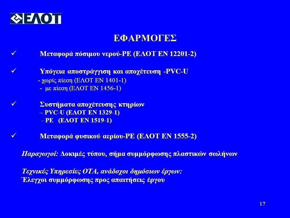 17 ΕΦΑΡΜΟΓΕΣ  Μεταφορά πόσιμου νερού-PE (ΕΛΟΤ ΕΝ 12201-2)  Υπόγεια αποστράγγιση και αποχέτευση -PVC-U - χωρίς πίεση (ΕΛΟΤ ΕΝ 1401-1) - με πίεση (ΕΛΟΤ ΕΝ 1456-1)  Συστήματα αποχέτευσης κτηρίων – PVC-U (ΕΛΟΤ ΕΝ 1329-1) - PE (ΕΛΟΤ ΕΝ 1519-1)  Μεταφορά φυσικού αερίου-PE (ΕΛΟΤ ΕΝ 1555-2) Παραγωγοί: Δοκιμές τύπου, σήμα συμμόρφωσης πλαστικών σωλήνων Τεχνικές Υπηρεσίες ΟΤΑ, ανάδοχοι δημόσιων έργων: Έλεγχοι συμμόρφωσης προς απαιτήσεις έργου