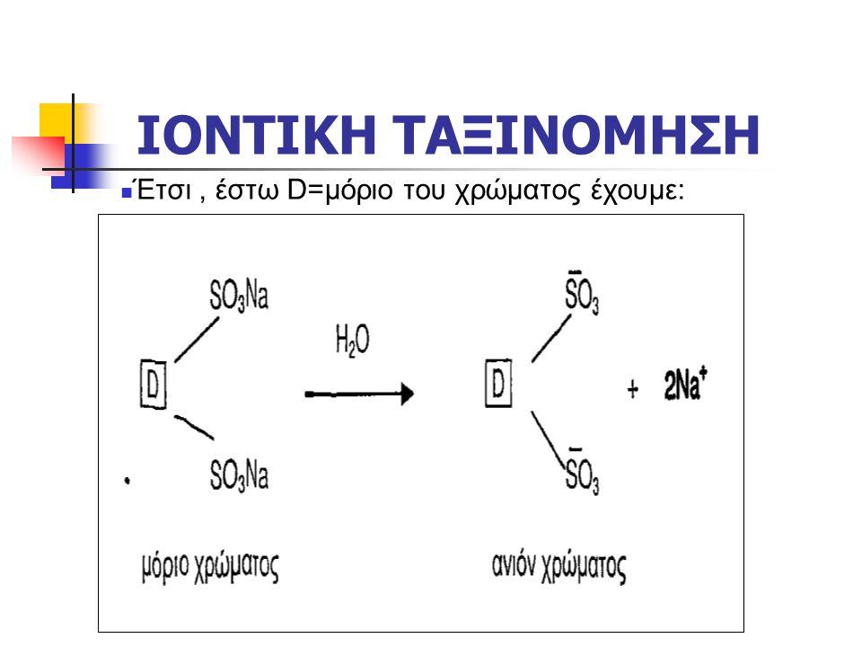 ΙΟΝΤΙΚΗ ΤΑΞΙΝΟΜΗΣΗ  Έτσι, έστω D=μόριο του χρώματος έχουμε: