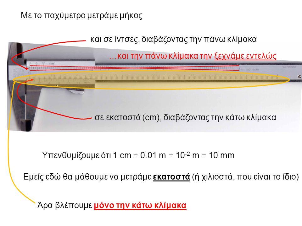 Με το παχύμετρο μετράμε μήκος σε εκατοστά (cm), διαβάζοντας την κάτω κλίμακα και σε ίντσες, διαβάζοντας την πάνω κλίμακα Υπενθυμίζουμε ότι 1 cm = 0.01 m = 10 -2 m = 10 mm Εμείς εδώ θα μάθουμε να μετράμε εκατοστά (ή χιλιοστά, που είναι το ίδιο) Άρα βλέπουμε μόνο την κάτω κλίμακα …και την πάνω κλίμακα την ξεχνάμε εντελώς