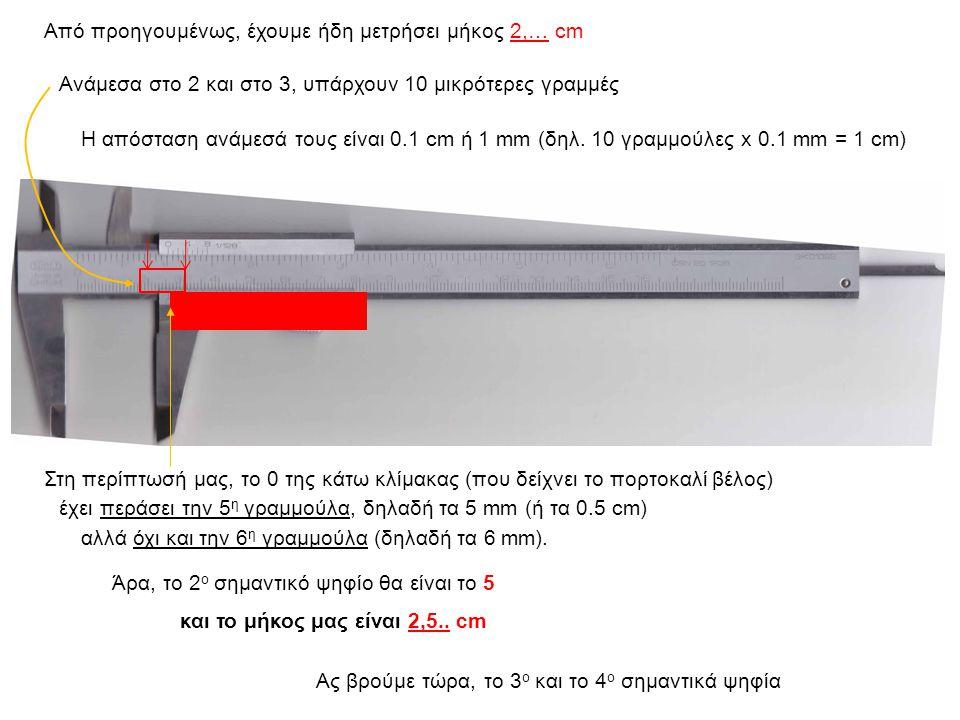 έχει περάσει την 5 η γραμμούλα, δηλαδή τα 5 mm (ή τα 0.5 cm) αλλά όχι και την 6 η γραμμούλα (δηλαδή τα 6 mm).